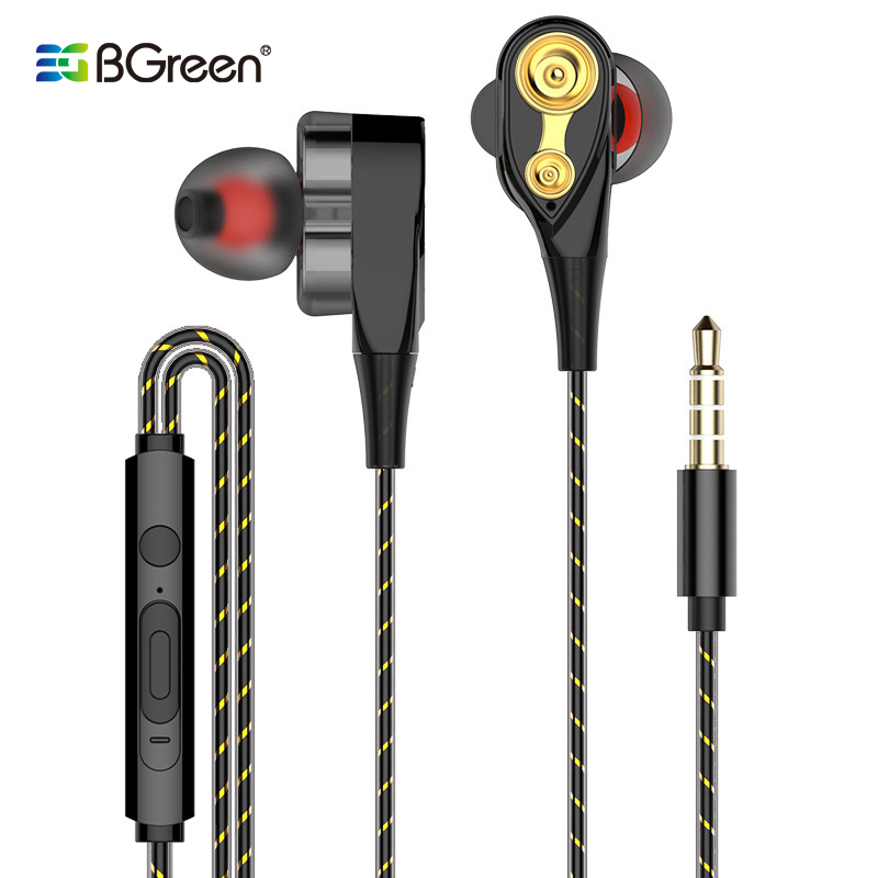 BGreen Wire Universal Earphone 4 Speaker Stereo Earphone Smart Cell Phone Headset With Microphone Copper 3.5mm Plug