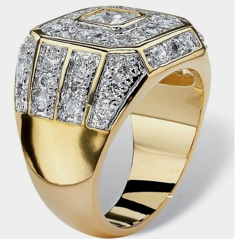 Golden Crystal Zircon Mens Ring Hot Fashion Male Luxury Jewelry Accessories Free Shipping Gift Wholesale Shiny Wedding Rings image