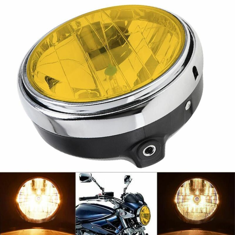 1pc Yellow Motorcycle Round Headlight Headlamp 7 inches 35W Universal Clear Glass Lens Beam Lamp light