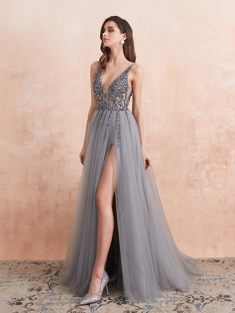 Prom-Dresses Formal-Gown Backless Beaded Long Sexy High-Splits Crystal V-Neck A-Line