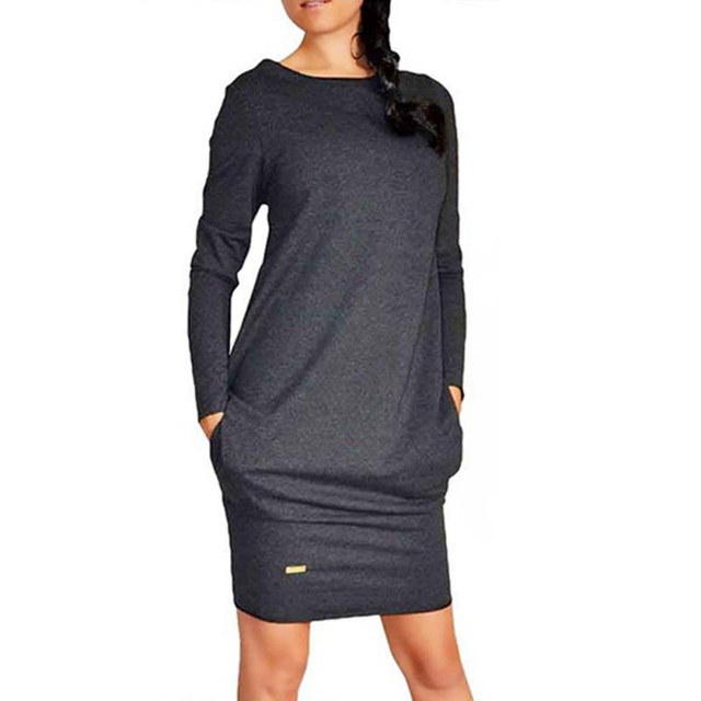 Female Autumn Long Sleeve Dress With Pockets Casual O-Neck Pure Color Clothing 2020 Fashion Gray Black Knee-length Dresses  2XL 3