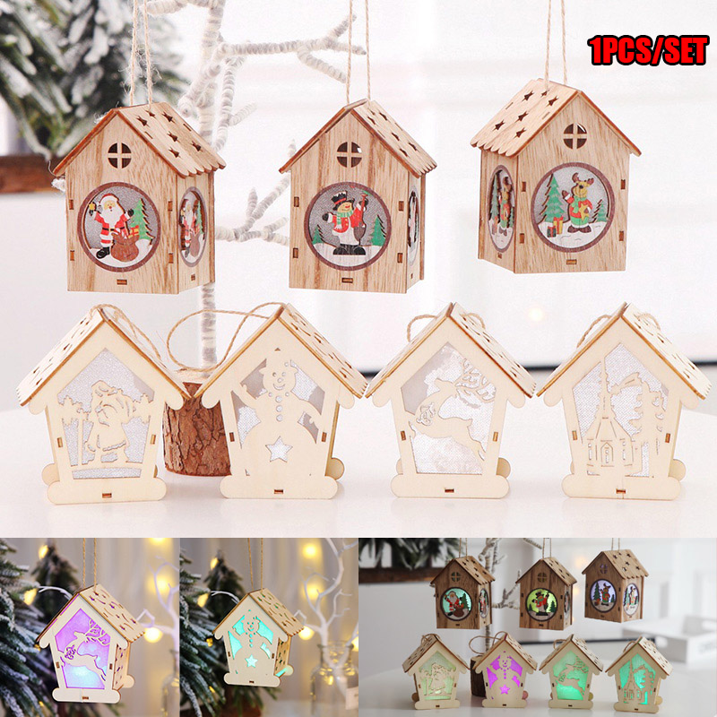 Wooden House Light Hanging Decoration Ornaments For Home Room Christmas Party JA55