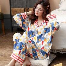 BZEL Hot Sale 2PCS Pajamas For Women Soft Sleepwear Suit Ladies Leisure Home Cloth Cotton Homewear Kawii Large Pijama Pyjama 3XL