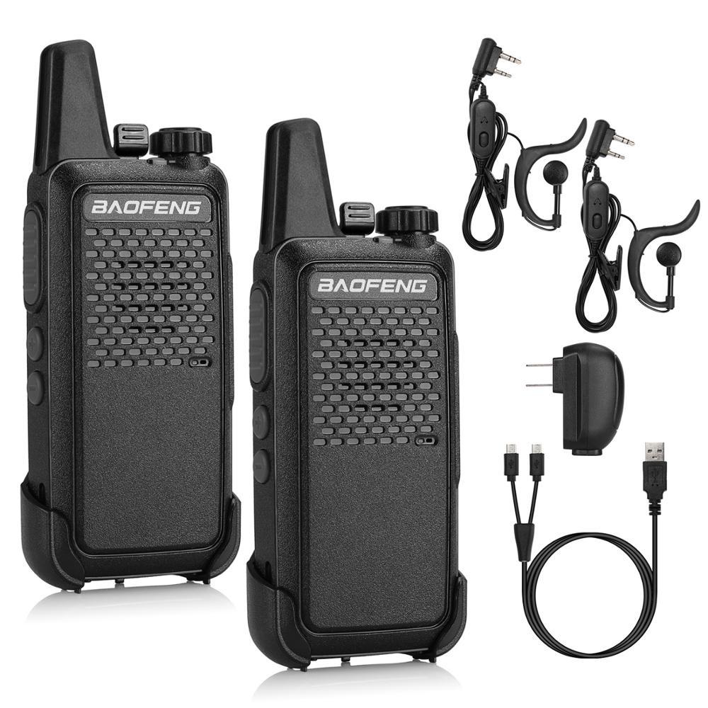 2 Pcs BAOFENG GT-22 UHF Two-Way Radio 1500mAh Battery Handsfree Portable Ham Walkie Talkie 16 CH VOX Micro USB Charging