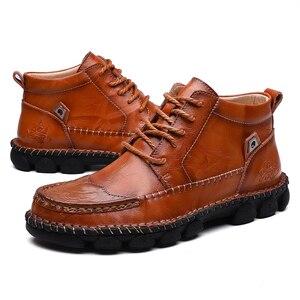 Image 3 - Mens Leather Ankle Boots Lace up Men Shoes High Quality Men Vintage British Military Boots Autumn Winter Plus Size 38 48