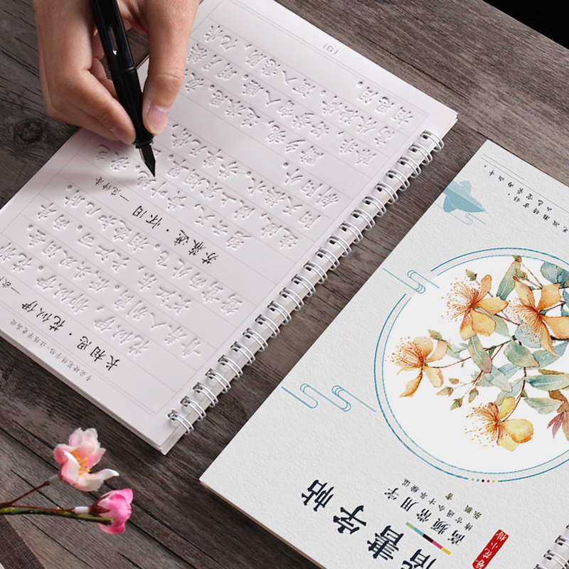 6PCS/Sets 3D Chinese Characters Reusable Groove Calligraphy Copybook Erasable Pen Learn Hanzi Adults Art Writing For Beginner