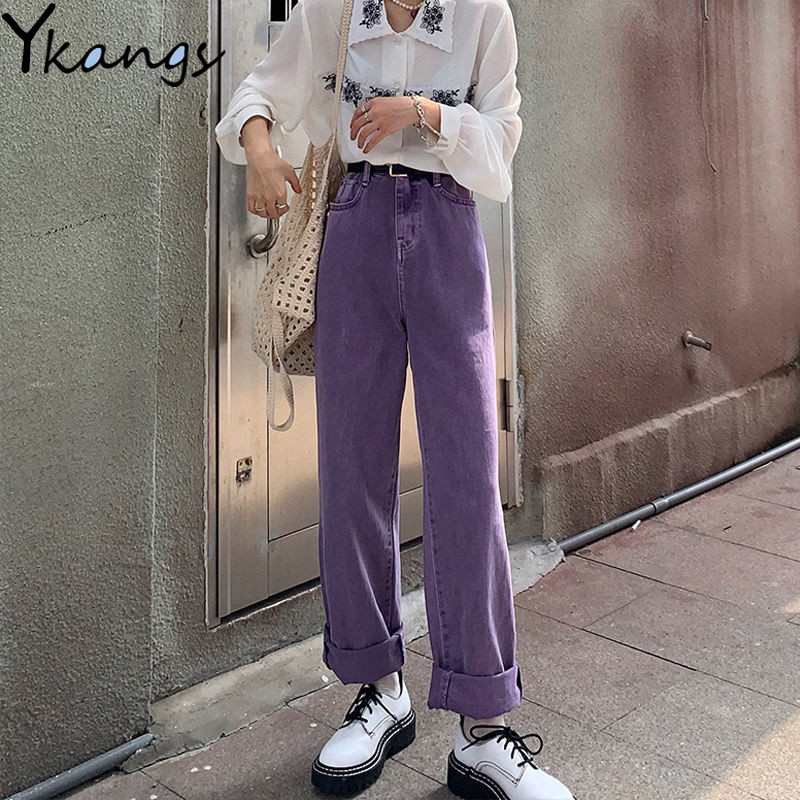 High Waist Purple Plus Size Mom Jeans Harajuku Korean Ulzzang Denim Pants Women Wild Daily Casual Girls Loose Trouser Streetwear