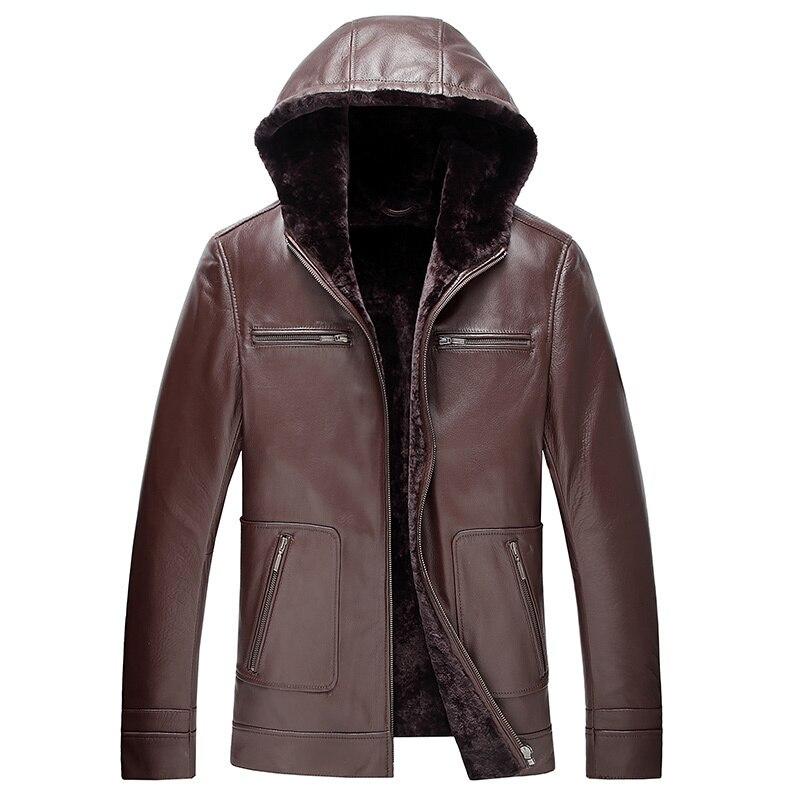 Genuine Leather Jacket Men 100% Wool Natural Fur Coat Winter Jacket Men Hooded Thick Sheepskin Jackets DXL1571 MY727