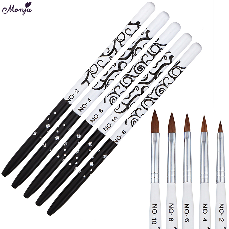 Monja Nail Art No.2/4/6/8/10 Acrylic Liquid Powder Carving Builder Pen Brush Kolinsky Sable Flower Painting Manicure Tool