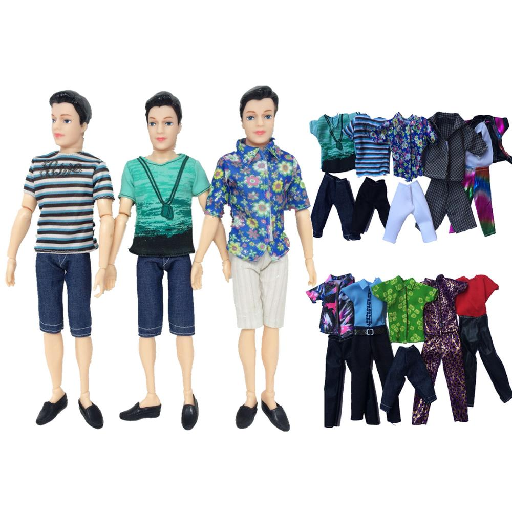 5 Set Fashion Ken Doll Casual Wear Doll Clothes Jacket Pants Outfits Accessories For Barbie Ken Dolls Children Gift Random Style