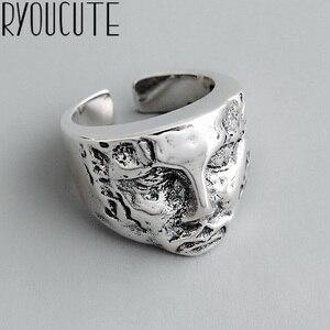 Boho vintage prata cor anéis de rosto humano para mulheres amante dedo anel presentes do dia dos namorados