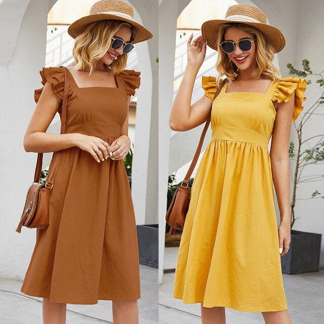 Sleeveless Dress Casual Mini Skirt Short Ruffled Sleeves 1