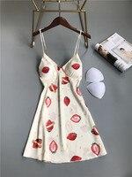 Принт симпатичный розовый клубника Для женщин Спагетти ремень ночная рубашка, пикантная Пижама платье-комбинация с глубоким v-образным выр...