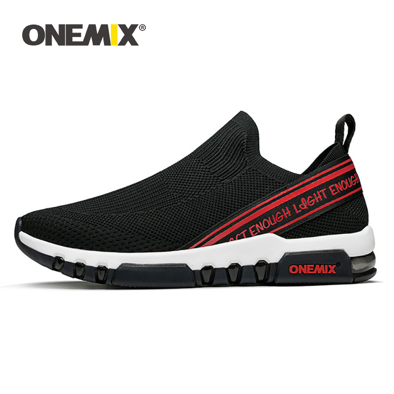 ONEMIX Summer Sports Shoes For Men Breathable Mesh Outdoor Slip-On Sock Travel Running Shoes Air Cushion Summer Walking Sneakers