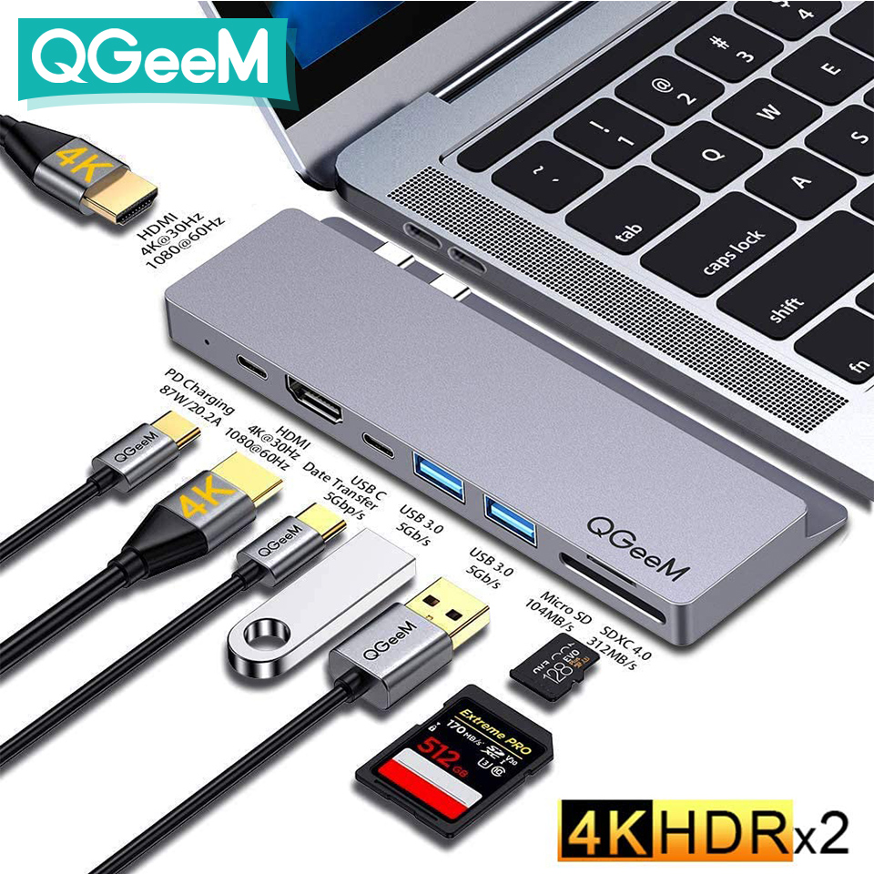 QGeeM USB C 허브 Dock for Macbook Pro Air 2020 Xiaomi Samsung SD TF Micro SD 카드 리더기 듀얼 HDMI PD Multi 3.0 USB 허브 유형 C 충전기 어댑터 분배기 Type-C 허브 노트북 태블릿 Apple iPad Pro 컴퓨터 PC 액세서리 USB3.1 4K 비디오 5Gbps 데이터 휴대폰 도킹 스테이션 USB-C 허브