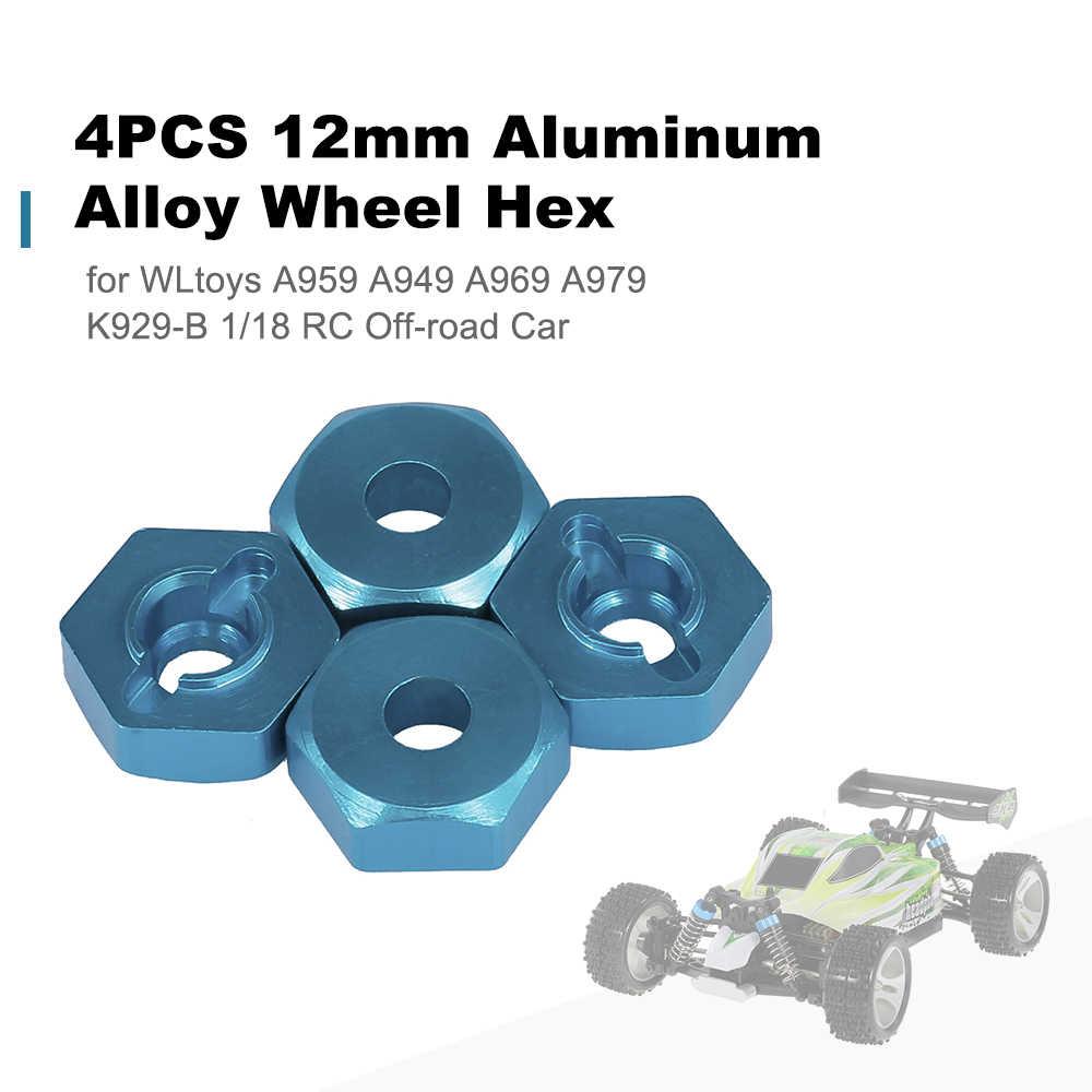 4 STUKS 12mm Aluminium Wiel Hex voor WLtoys A959 A949 A969 A979 K929-B 1/18 RC Off-road auto