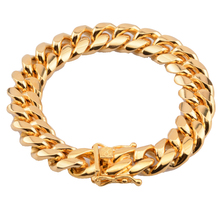 Cool Mens 14mm Cuban Miami Chain Bracelets Gold Color Stainless steel Hip hop Casting Bangle 7inch-10inch