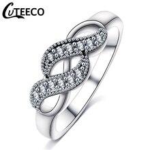 Cuteeco Silver Color CZ Zircon Rings For Women Original Pan Ring Handmade Winding Twist Wedding Jewelry