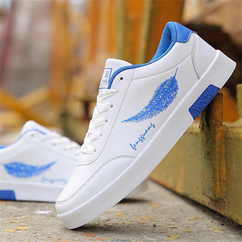 2019 Mannen Casual Schoenen Ademend Mannelijke Tenis Masculino veer Print Schoenen Zapatos Hombre Sapatos Outdoor Flats Schoenen Sneakers
