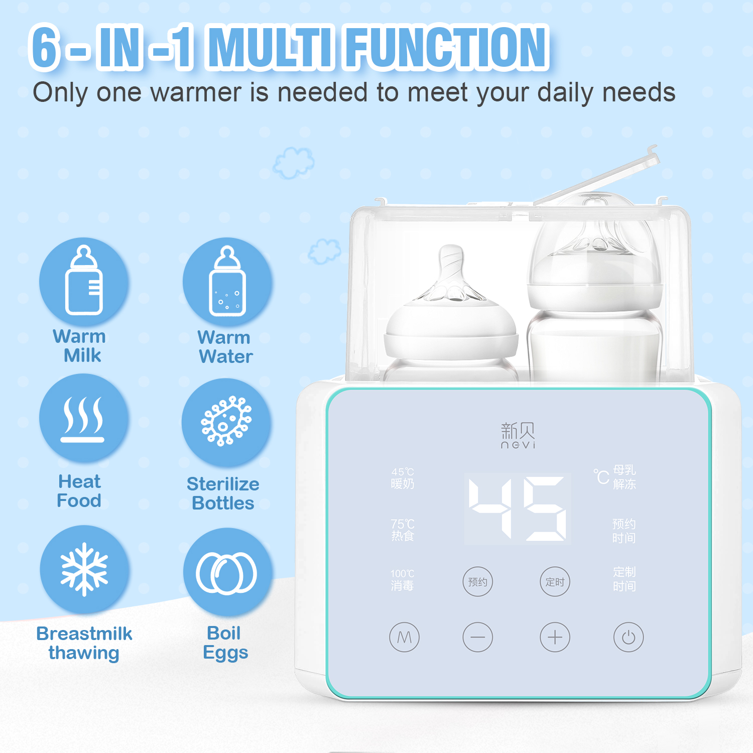 Baby Bottle Warmer & Bottle Sterilizer, Double Bottle Warmer for Breast Milk, LCD Display Accurate Temperature Control 2
