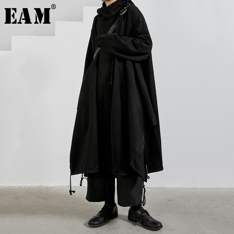 [EAM] Loose Fit Black Long Vent Oversized Sweatshirt New Hooded Long Sleeve Women Big Size Fashion Tide Spring 2020 1N324