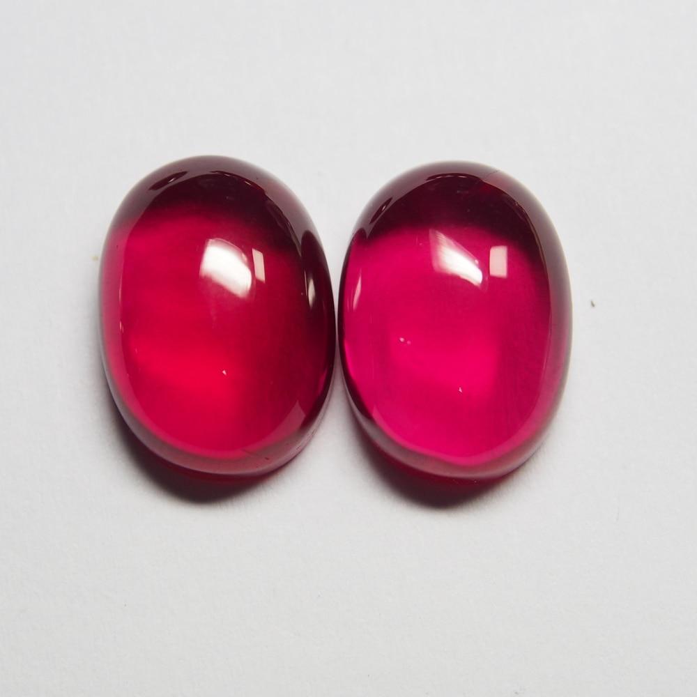 12*16mm 5 Piece/a lot High Quality Red Gemstone Oval Flatback Cabochon Ruby Corundum for Jewelry