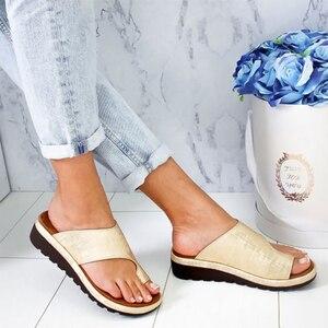 Image 3 - Delle donne DELLUNITÀ di elaborazione di Cuoio Scarpe Comode Piattaforma Suola Piatta Signore Casual Morbido Big Toe Correzione Del Piede Sandalo Shopping Suola Piatta Sandalo