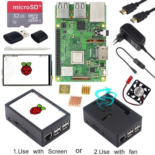 Ahududu Pi 3 Model B + ABS kılıf + 32GB SD kart + güç adaptörü + soğutucu + isteğe bağlı 3.5 inç dokunmatik ekran veya HDMI RPI 3B +