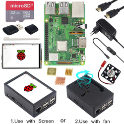 Raspberry Pi 3 Model B + 3,5-дюймовый сенсорный ЖК-экран + чехол ABS + 32 ГБ sd-карта + адаптер питания 3A + радиаторы + HDMI для RPI 3B +