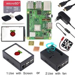 Raspberry Pi 3 Model B + ABS Case + 32GB SD Card + Power Adapter + Heatsinks + Optional 3.5 inch Touchscreen or HDMI for RPI 3B+