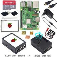 Raspberry pi 3 modelo b + kit abs caso 32gb cartão sd adaptador de alimentação dissipadores de calor opcional tela sensível ao toque de 3.5 polegadas para rpi 3b +