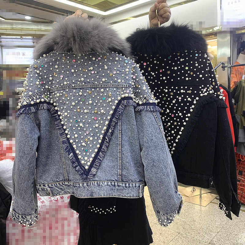New Beaded Drill Removable Wool Liner Plush Thickened Cotton Jeans Coat Women Winter Warm Denim Jacket Students Fur Collar Parka