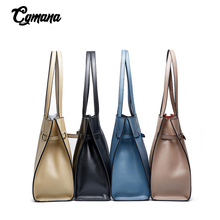 Famous Office Lady Shoppers Tote 2019 Genuine Leather Bags For Women Set Bag Large Capacity Cowhide Shoulder