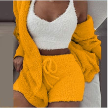 Winter Plush Home Wear Casual 3 Pieces Women Warm Pajamas Long Sleeve Vest Crop Tops Short Pants and Coat Pijamas Sleeping Suits(China)