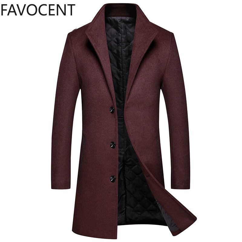 Winter New Woolen Coat Men's Slim Mid-length Wool Trench Coat Men's Thick Woolen Coat Men's Jacket Casual Mens Wool Coat