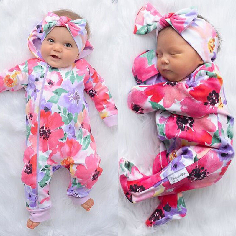Winter Autumn Newborn Infant Baby Girls Clothes Jumpsuits Flower Printed Zipper Cotton Romper Jumpsuit Outfits 0-24M