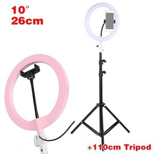 "Image 5 - Tycipy 10"" Ring Light Photo Studio Camera Makeup Ring Light Phone Video Live Light Lamp with Tripod for Smartphone Canon Nikon"
