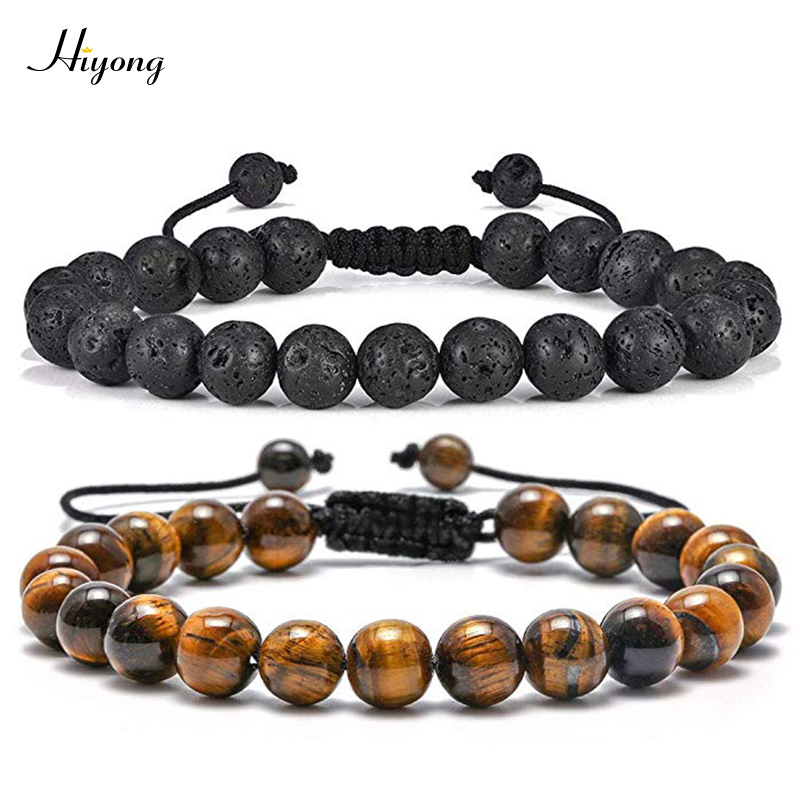 Tiger Eye Stone <font><b>Bracelet</b></font> <font><b>Men</b></font> Women Natural Energy Stone Essential Oil Lava Rock Black Onyx Tiger Eye <font><b>Beads</b></font> <font><b>Bracelet</b></font> Adjustable image
