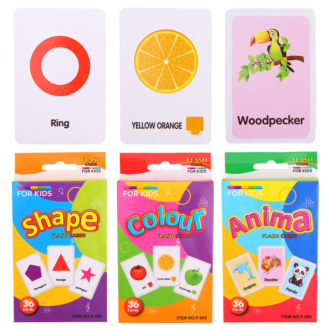 Children Recognition Color Animal Shape Teaching Card Educational Toy Baby Learning Toys Educational Gift