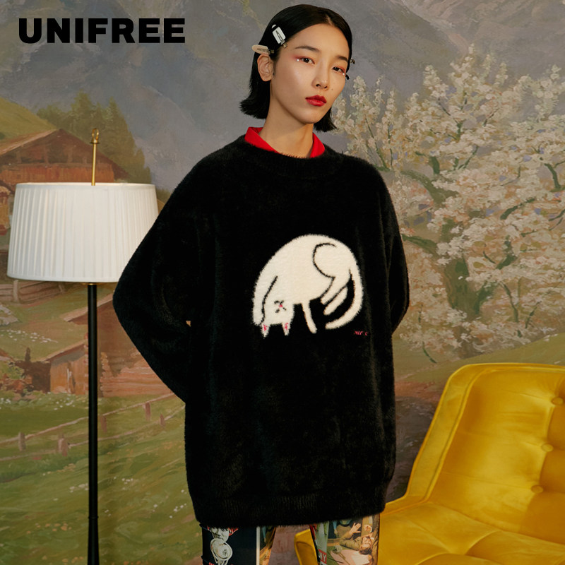 Unifree2019 Winter New Round Neck Simple Lovely Cartoon Loose Casual Sweater U194K909PP