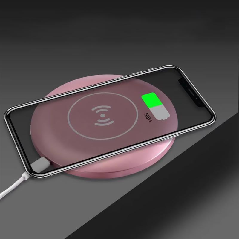 Image 2 - Espejo cosmético Circular LED portátil multifuncional con Base de carga inalámbrica USB herramientas de espejo de maquillaje para mujerEspejos para maquillaje   -