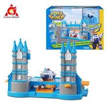 Super asas torre ponte controle de tráfego robôs avião figuras de ação transformação pequeno playset para crianças presentes aniversário