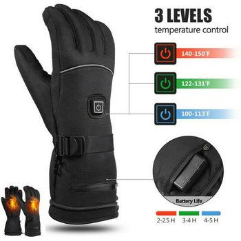 Зимние перчатки с электроподогревом, водонепроницаемые ветрозащитные перчатки для сенсорных экранов, мотоциклетные лыжные перчатки, перч...