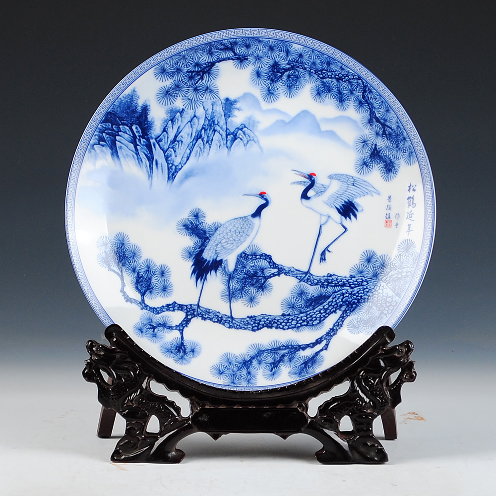 Longevity Crane And  Plate Ceramic Ornamental Plate Chinese Decoration Plate Wood Base Porcelain Plate Set Wedding Gift