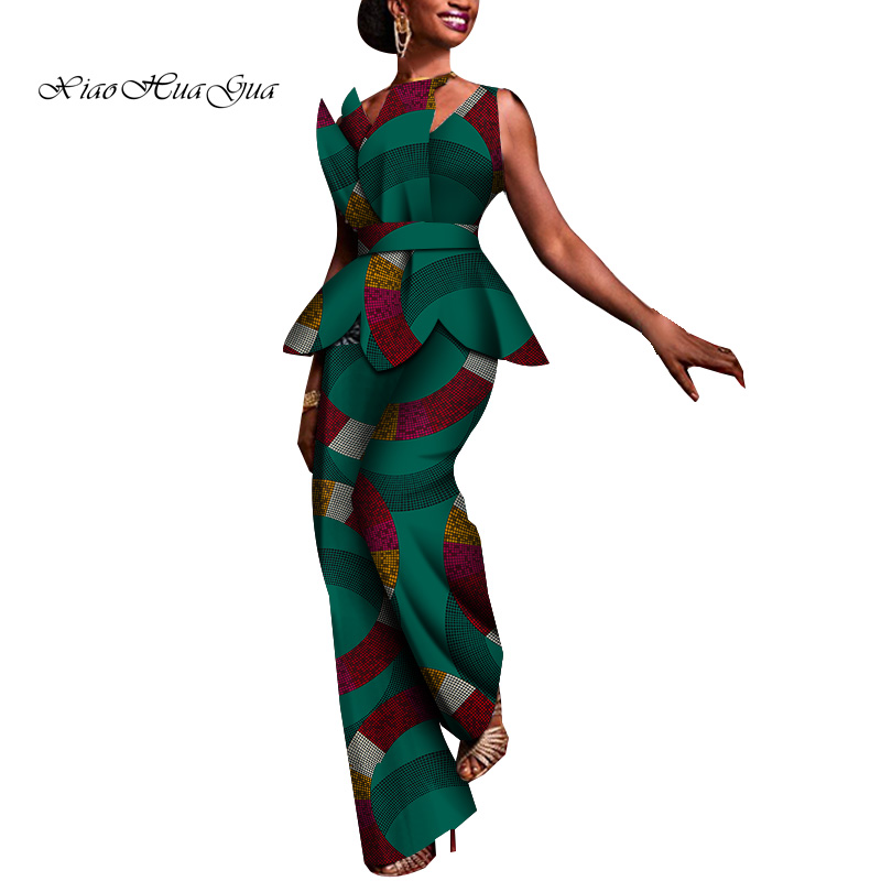 2020 African Dashiki 2 Pieces Pants Set For Women Sleeveless Top+ankle Length Wide Pants Casual Women Cotton Set Clothing Wy6086