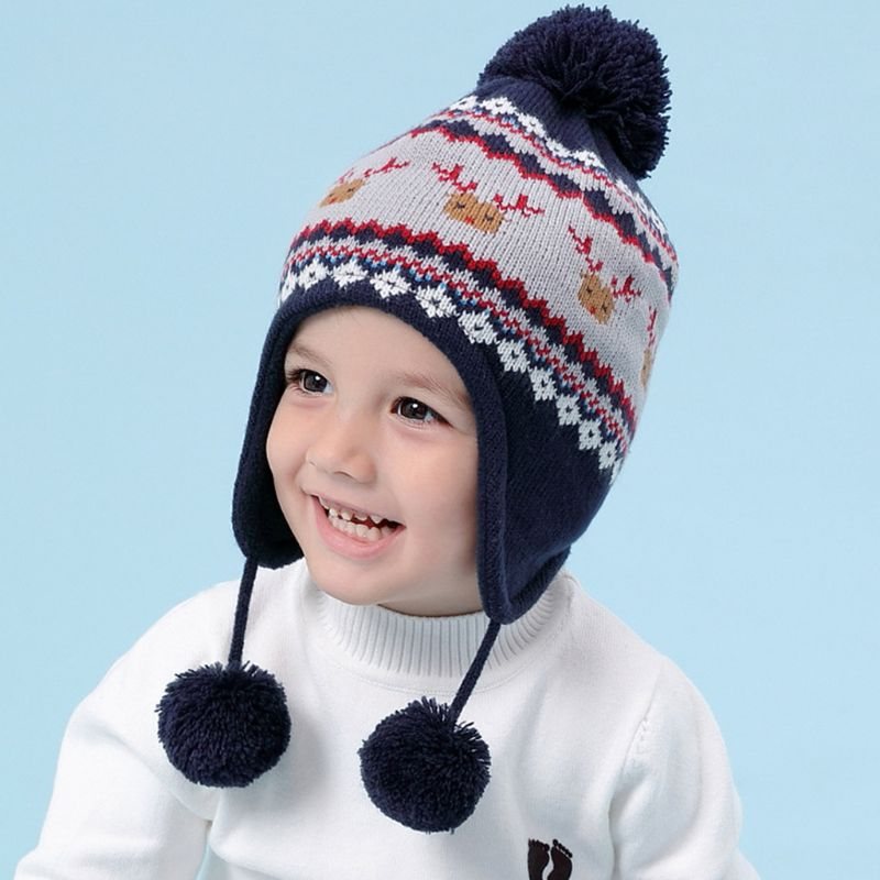 THINKTHENDO Kids Baby Winter Christmas Reindeer Pompom Earflap Beanie Cap Long Scarf Gloves