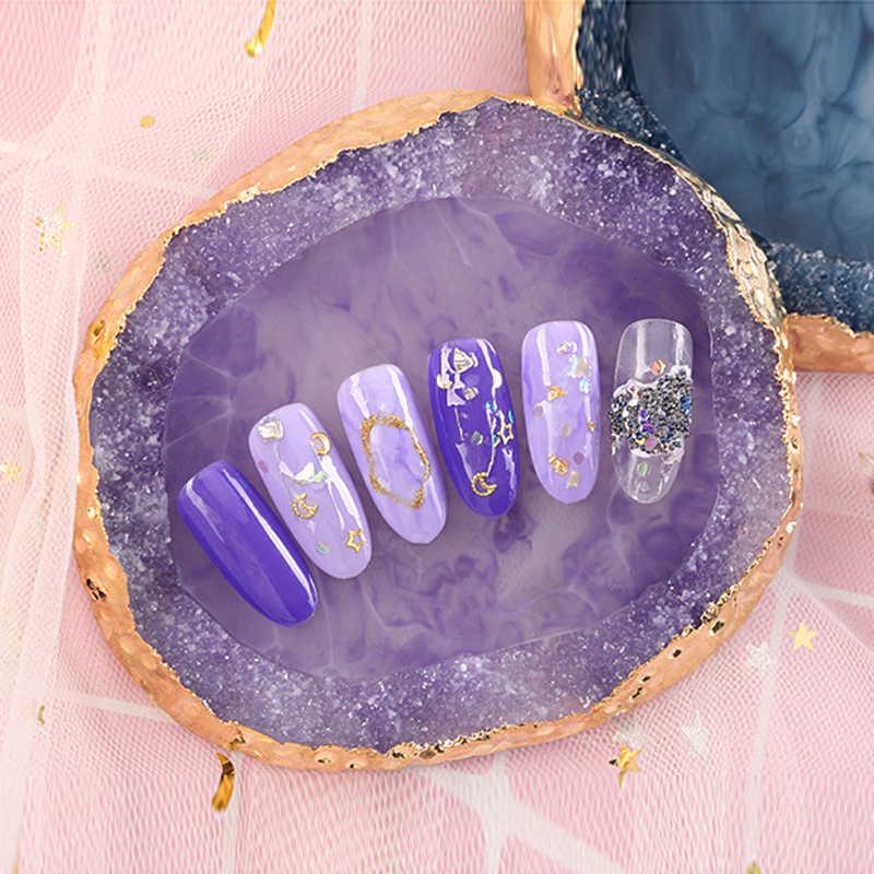 Nueva paleta de colores de Arte de uñas de resina Natural soporte de esmalte de Gel acrílico dibujo pintura de Color plato pegamento DIY herramientas de exhibición de manicura herramienta