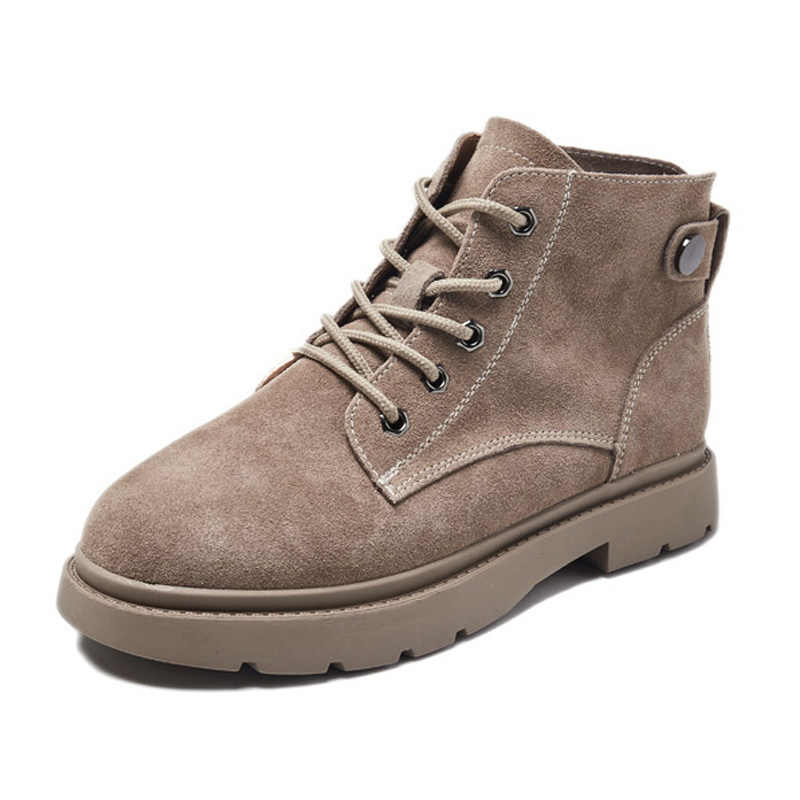 Hakiki Deri Kadın Çizmeler Sonbahar Erken Kış Kadın yarım çizmeler Rahat Bayan Tek Botas Inek Deri Kadın Ayakkabı A1648