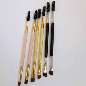 Image 4 - AMSIC 2 sztuk makijaż uchwyt pędzla brwi podwójna narzędzie do makijażu bambusowego pędzel kosmetyczny + grzebień do brwi podwójne