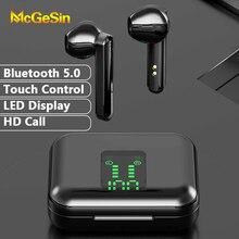 Auriculares TWS inalámbricos con Bluetooth 5,0 cascos de emparejamiento automático, Control táctil con micrófono de llamada HD para teléfono inteligente, novedad